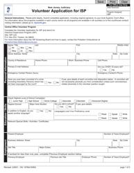 "Form 12764 ""Volunteer Application for Isp"" - New Jersey"