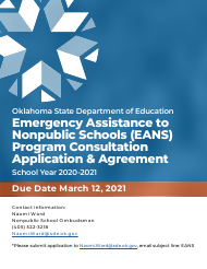 """Emergency Assistance to Nonpublic Schools (Eans) Program Consultation Application & Agreement"" - Oklahoma, 2021"