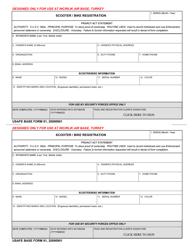 """USAFE BASE Form 91 """"Bike/Scooter Registration"""""""