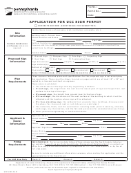 """Form UCC-5 """"Application for Ucc Sign Permit"""" - Pennsylvania"""