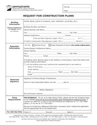 "Form UCC-26 ""Request for Construction Plans"" - Pennsylvania"