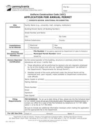 "Form UCC-1 ""Application for Annual Permit"" - Pennsylvania"