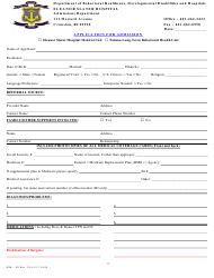 "Form ESH-303 ""Application for Admission"" - Rhode Island"