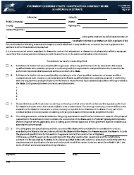 """Form ROW-U-48 """"Statement Covering Utility Construction Contract Work (As Appearing in Estimate)"""" - Texas"""