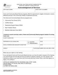 "DSHS Form 14-225 ""Acknowledgement of Services"" - Washington"