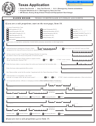 "Form AP-201 ""Texas Application for Texas Sales and Use Tax Permit"" - Texas"