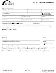 "Form DOC09-306 ""Board - Violations Specified"" - Washington"