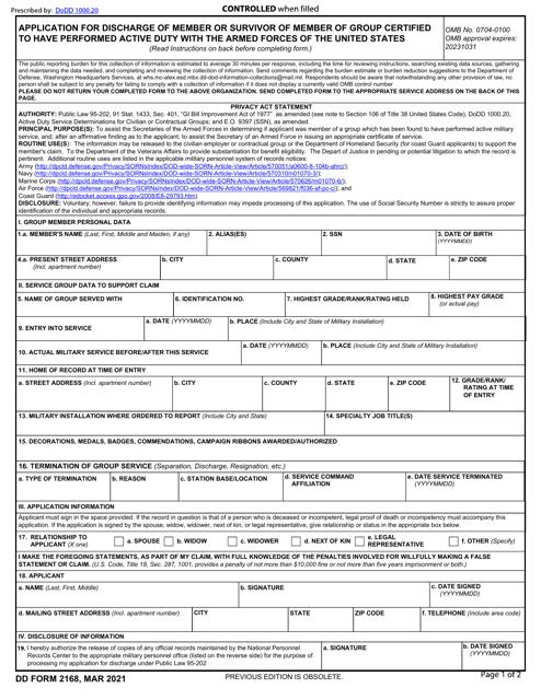 DD Form 2168  Printable Pdf