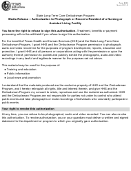 """Form 8626 """"Media Release - Authorization to Photograph or Record a Resident of a Nursing or Assisted Living Facility - State Long-Term Care Ombudsman Program"""" - Texas"""