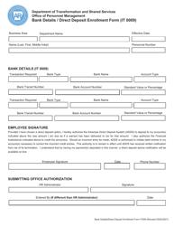"""Form IT0009 """"Bank Details/Direct Deposit Enrollment Form"""" - Arkansas"""