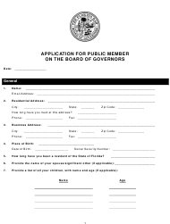 """""""Application for Public Member on the Board of Governors"""" - Florida"""