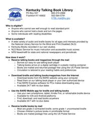 """""""Application for Kentucky Talking Book Library Service"""" - Kentucky"""