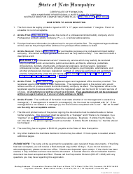 """Form PLLC-1 """"Certificate of Formation New Hampshire Professional Limited Liability Company"""" - New Hampshire"""