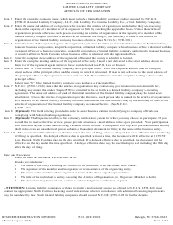 "Form L-01 ""Articles of Organization - Limited Liability Company"" - North Carolina"