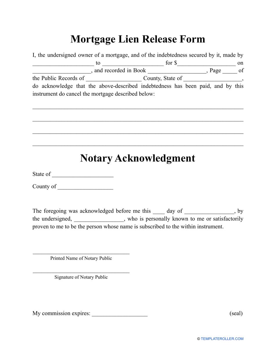 Mortgage Lien Release Form Download Printable PDF   Templateroller