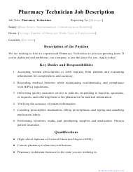 "Sample ""Pharmacy Technician Job Description"""