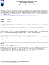 """Form OP-REQ3 (TCEQ-10018) """"Applicable Requirements Summary"""" - Texas"""