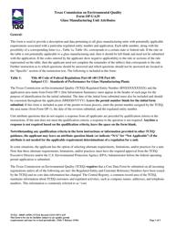 "Form OP-UA29 (TCEQ-10049) ""Glass Manufacturing Unit Attributes"" - Texas"