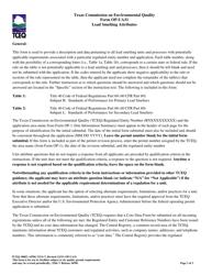 "Form OP-UA31 (TCEQ-10083) ""Lead Smelting Attributes"" - Texas"