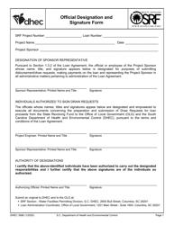 """DHEC Form 3586 """"Official Designation and Signature Form"""" - South Carolina"""