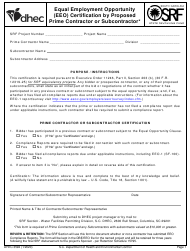 "DHEC Form 3592 ""Equal Employment Opportunity (EEO) Certification by Proposed Prime Contractor or Subcontractor"" - South Carolina"