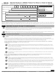 "IRS Form 944-X ""Adjusted Employer's Annual Federal Tax Return or Claim for Refund"""