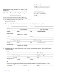 "Form CPSA-1 ""Parentage Petition - Surrogacy Agreement"" - New York"