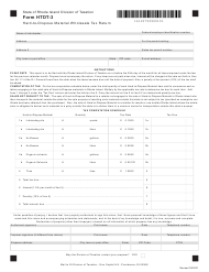 """Form HTDT-3 """"Hard-To-Dispose Material Wholesale Tax Return"""" - Rhode Island"""