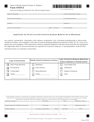 """Form HTDT-2 """"Hard-To-Dispose Material Tax Permit Application"""" - Rhode Island"""
