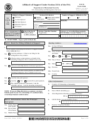 """USCIS Form I-864 """"Affidavit of Support Under Section 213a of the Ina"""""""