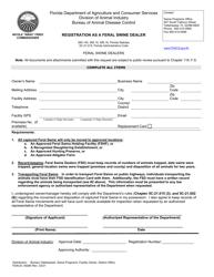 "Form FDACS-09280 ""Registration as a Feral Swine Dealer"" - Florida"