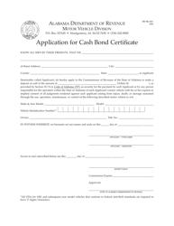 "Form MV MLI-001 ""Application for Cash Bond Certificate"" - Alabama"