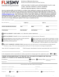 """Form HSMV85100 """"Application to Replace Apportioned Plate, Cab Card, and/or Correct Usdot Number"""" - Florida"""