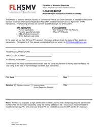 "Form HSMV85083 ""E-File Request"" - Florida"
