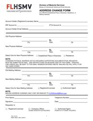 """Form HSMV85041 """"Address Change Form"""" - Florida"""