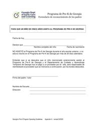"""Apendice A """"Formulario De Reconocimiento De Los Padres - Programa De Pre-k De Georgia"""" - Georgia (United States) (Spanish)"""