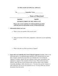 """Informal Brief of the Appellant - Criminal"" - Maryland"