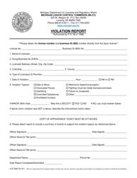 "Form LCC-600 ""Violation Report"" - Michigan"