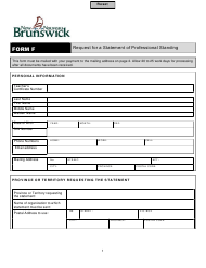 """Form F """"Request for a Statement of Professional Standing"""" - New Brunswick, Canada"""