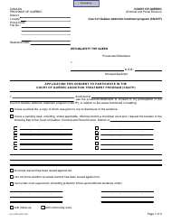 """Form SJ-1073A """"Application for Consent to Participate in the Court of Quebec Addiction Treatment Program (Cqatp)"""" - Quebec, Canada"""