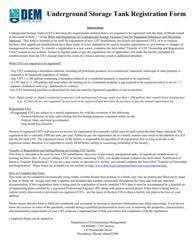 """""""Underground Storage Tank Registration Form"""" - Rhode Island"""