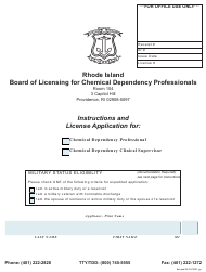 """""""License Application for Chemical Dependency Professional/Chemical Dependency Clinical Supervisor"""" - Rhode Island"""