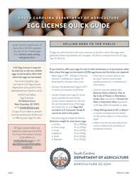 """CPD Form 485 """"Application for South Carolina Egg License"""" - South Carolina"""