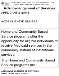 "DSHS Form 14-225 ""Acknowledgement of Services - Large Print"" - Washington"