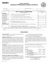 "Form AR4EC ""Employee's Withholding Exemption Certificate"" - Arkansas"