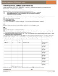 """Chronic Homelessness Certification"" - Georgia (United States)"