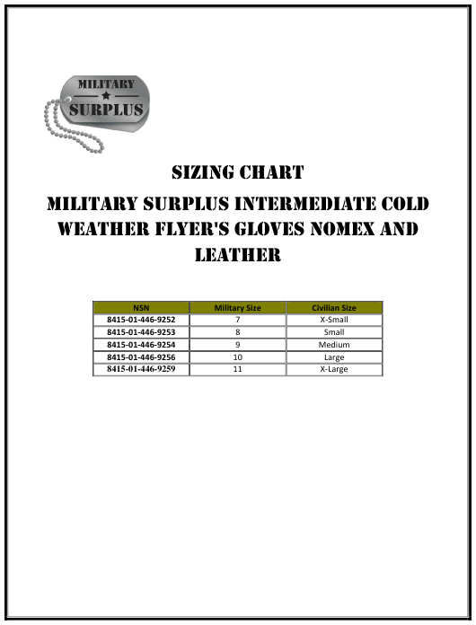 """Intermediate Cold Weather Gloves Sizing Chart - Military Surplus"" Download Pdf"