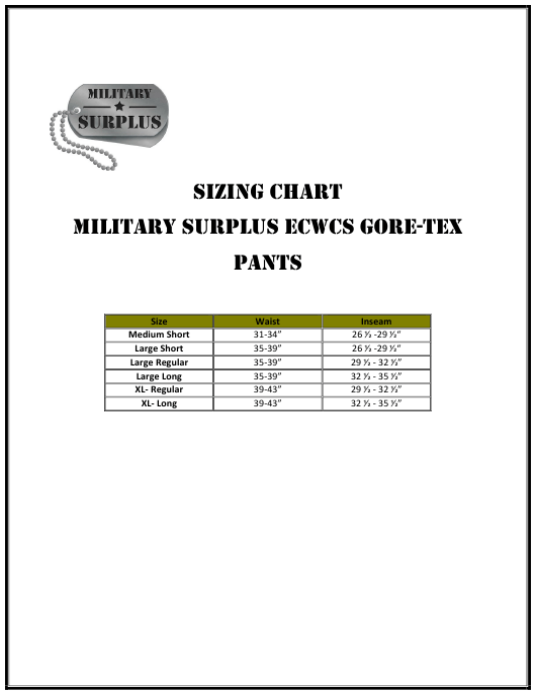 """Pants Sizing Chart - Military Surplus"" Download Pdf"