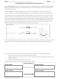 """Models of Photosynthesis Worksheet - Monroe Township High School"""