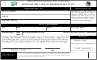 """Form MVD-11317 """"Affidavit for Year-Of-Manufacture Plate"""" - New Mexico"""